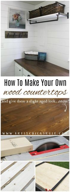 How To Make Your Own Wood Countertops (and give them a slight aged appearance too!!) artsychicksrule.com