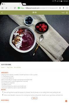 Available bowl Healthy Eating Recipes, Clean Eating Recipes, Healthy Meals, Healthy Food, 28 By Sam Wood, Good Food, Yummy Food, Acai Berry