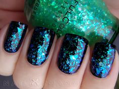Saw this on r/ffa and had my mind blown. Sheer sparkly polish over black--incredible!