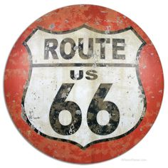 Route 66 Shield Round Sign http://www.retroplanet.com/PROD/37792