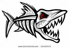 Fish Skeleton Shark Car Bumper Sticker Decal x Rib Cage Drawing, Kayak Decals, Vinyl Decals, Et Tattoo, Beard Tattoo, Fish Skeleton, Laser Art, Cartoon Fish, Wood Burning Patterns