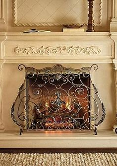 Sophisticated scroll work elegantly comes together to create the Mirabella Fire Screen that will protect your family and guests from errant flames or sparks while dressing up your hearth.