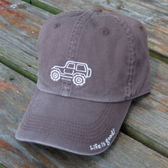 "All Things Jeep - Life is good Chill Cap - White Ride on ""Chocolate Brown"" Hat"