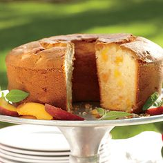 Two-Step Fresh Peach Pound Cake | Turn out a high-rise cake with a moist, tender crumb by layering the ingredients in the bowl in the order specified. | #Recipes | SouthernLiving.com