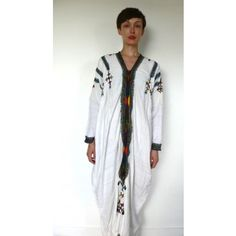 Vintage, white long sleeve traditional Ethiopian dress with multicoloured hand embroidery - Wear We Love - Ethiopia