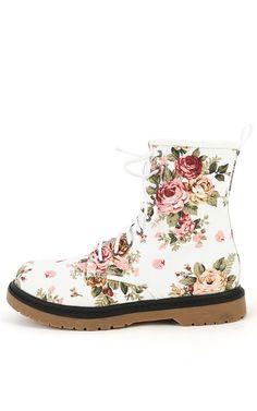 Wild Diva Raven-01 Floral Boots WHITE MULTI