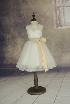 Lace Tulle Flower Girl Dress With Elegant by Weddingcollection