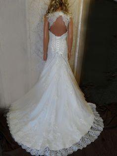 Open Back Lace Wedding Dresses | Lace wedding dress. Sweetheart Lace Applique Beading Wedding Dress. A ...