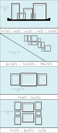 Different ideas on how to hang frames in different wall spaces.
