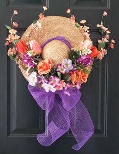 Straw Hat Wreath Spring Wreath Summer Wreath by KraftsByViktorija - Emerald Lily Craft Studio, $59.00