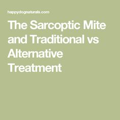 The Sarcoptic Mite and Traditional vs Alternative Treatment