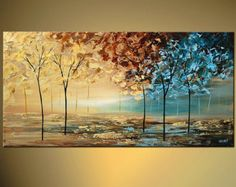 Lavender Landscape Blooming Tree Painting Original by OsnatFineArt