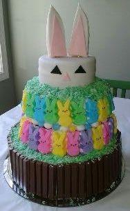 Peep and KitKat Easter Bunny Cake