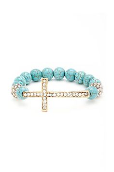 Side Cross Beaded Bracelet in Turquoise