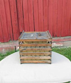 Vintage Wooden  Egg Crate With Lid and Handle Made By Owosso MFG. Co.Mich. Benton, Ark.,Primitive, Farm House Decor, Kitchen Decor - by Incredibletreasures on Etsy