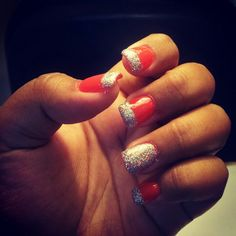 Prom nails!!! #coral #glitter