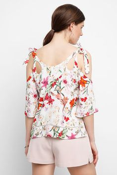Willow & Clay Floral Slit Tank Top in IVORY - back view