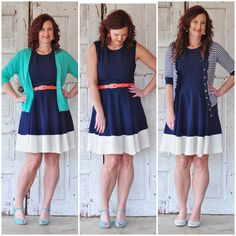 Do not like this dress belted or with the teal cardigan, BUT I love it on the far-right with the striped cardigan! #stitchfix
