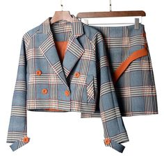 Special Discount - Fengguilai Spring Autumn Two Piece Plaid Skirt Suit Set Women Korean Style Female Set Mini Skirt And Short Jackets Double Breast- Blazer Jackets For Women, Blazers For Women, Suits For Women, Clothes For Women, Classy Outfits, Cute Outfits, Beautiful Outfits, Fall Outfits, Look Blazer