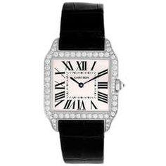 Cartier Lady's White Gold and Diamond Santos Dumont Wristwatch