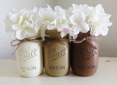 Painted Mason Jars. Ball Jars. Flower Vases. by MyHeartByHand