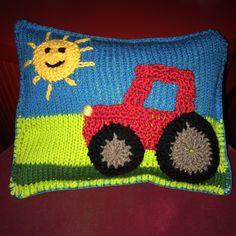 Knitting, crochet, pillow ( Tractor )