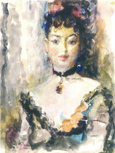 Артур Фонвизин (1882-1973) - Музей рисунка  Портрет Юмашевой с кулоном 1949 Бумага, акварель 64х48 см