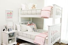 Chic Gray For Bunk Beds Our Chic gray is a favorite. You'll love the light neutral color. The ruffles and ruching give the bedding a little extra loft. This set includes the ruffled sham, the adorable polka dot interior and polka dot pillo Bed For Girls Room, Teen Girl Bedrooms, Little Girl Rooms, Shared Bedrooms, Shabby Chic Interiors, Shabby Chic Decor, Boho Decor, Vintage Decor, Beddys Bedding