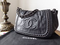 9b17ed6a7725 Chanel Classic Flap Wallet Purse in Steel Grey Striped Patent Leather -  SOLD | Chanel | Pinterest | Chanel, Wallet and Purse wallet