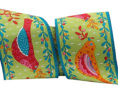 "1 1/2"" Red and orange birds on Green By French Designer Odile Bailloeul -sold by the yard"