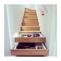 Storage idea! Stair case storage. So clever!!