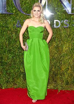 You Can't Take It With You actress Annaleigh Ashford relished the moment in a strapless green dress. Old Hollywood curls completed the ensemble.