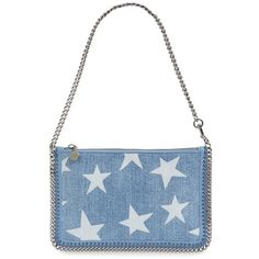 Stella McCartney 'Falabella' Denim Pouch with Convertible Strap (940 NZD) ❤ liked on Polyvore featuring bags, handbags, clutches, blue, chain strap purse, white clutches, hand bags, man bag and denim purse