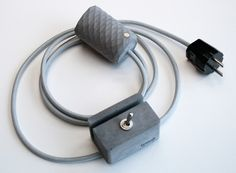 Handcrafted concrete pendant lamp and concrete switch with stylish textile cord.  dark grey + grey