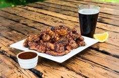 Rootbeer chicken wings.  Preheat your grill for a two zone cooking, having hot coals on…