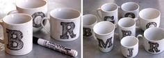 DIY Anthropologie mugs.