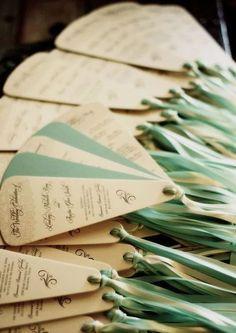 White and Blue Wedding program fan