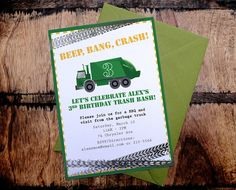 Printable Garbage Truck Birthday Party Invitation by fullydesigned, $15.00