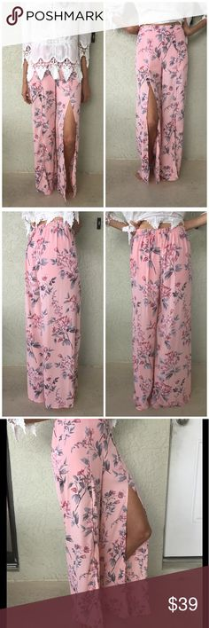 Floral Open Front Slit Pants Talk about gorgeous pictures don't do these justice.  Mid upper knee open front slit.  Elastic waist. Lined shorts. Both lining and pants are 100% Polyester.  Easy quick chic outfit!  Personal note bin hanging. Pants