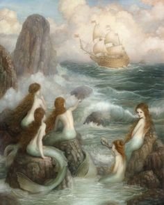 The artworrk of Annie Stegg Gerard embodies magic and mythology, while the compositions she creates nod to her affection for the Rococo art movement. Vintage Mermaid, Mermaid Art, Mermaid Paintings, Tattoo Mermaid, Siren Mermaid, Mermaid Tails, Fantasy Magic, Fantasy Art, Costume Original