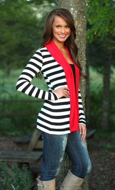 The Pink Lily Boutique - Back To You Black and Red Cardigan, $34.00 (http://www.thepinklilyboutique.com/back-to-you-black-and-red-cardigan/)