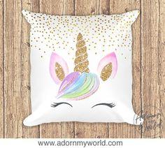 Unicorn Pillow, Gold Glitter Unicorn Cushion, Unicorn Decor, Unicorn Nursery, Unicorn Gift, Unicorn Pillowcase, Unicorn Face, Nursery Decor