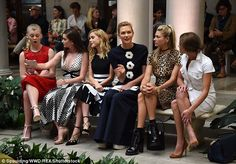 Stylish: Many of the front row attendees wore Carolina's own designs...