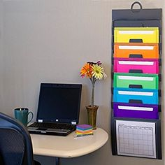 Smead Cascading Vertical Wall Organizer, 6 Pockets, Poly, Gray with Bright Color Pockets (92060): Amazon.ca: Office Products