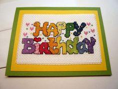 Happy Birthday cross stitch greeting card by TheGardenStitcher