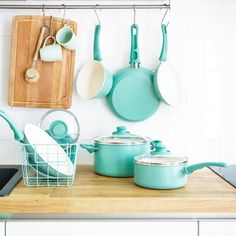GreenLife GreenLife Soft Grip 14-Piece Non-Stick Cookware Set Color: Turquoise