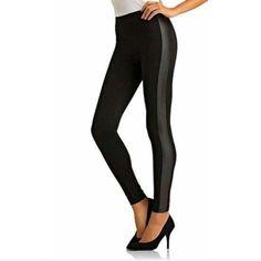 Tuxedo leggings Black polyester leggings with faux leather tuxedo stripe. Kardashian Kollection Pants Leggings