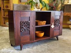 Indonesian Carved Panel Vintage Deco Console Cabinet at Gado Gado.