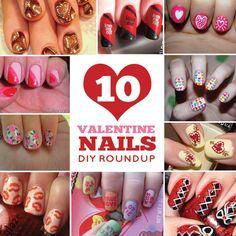 10 Valentine nail dyi