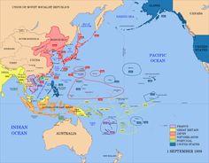 mapas de japón | Un mapa de las potencias imperiales del Pacífico en 1939. Las fechas ...